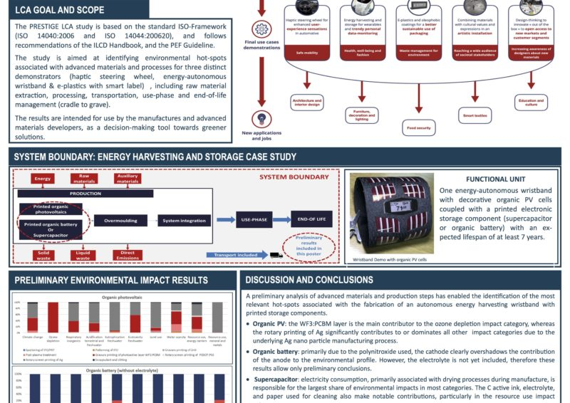 Wilde, D.; Sánchez Cantero, I.; Escamilla Monell, M.  LCA as decision support to understand and reduce potential environmental impacts of advanced materials and processes developed or applied in the EU Horizon 2020 PRESTIGE Project. SETAC Europe 30th Annual Meeting 2020 (Poster)